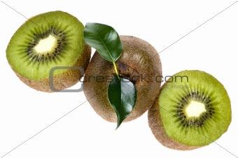 Cutting kiwi on white