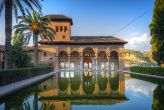Alhambra patio with pool, Granada, Spain