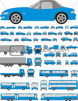 Cars set of silhouettes