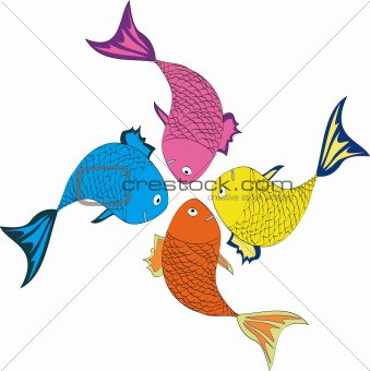 Four varicolored fishes