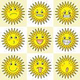 9 cartoon action icon of sun