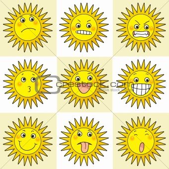 9 cartoon action icon of sun