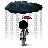Raining day with small umbrella