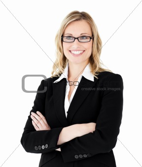 Self-assured businesswoman with folded arms