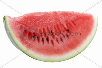 Cutting watermelon on white