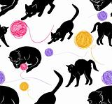 Cute cats and ball seamless . Vector