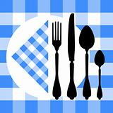 Design with cutlery silhouettes on blue tablecloth