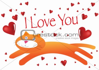 Cat I Love You Illustration in Vector