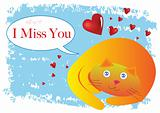 Cat I Miss You Illustration in Vector