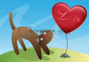 Cat and Love Ballon Illustration in Vector