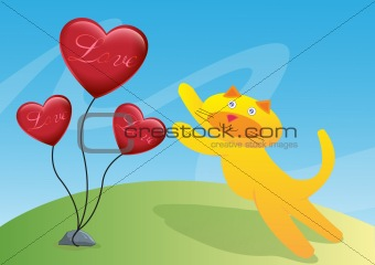 Cat and Three Love Ballon Illustration in Vector