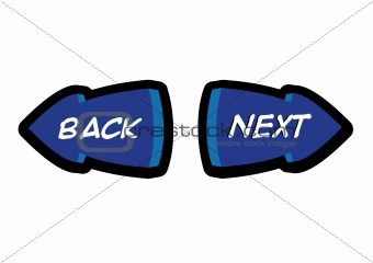 Back and Next Navigation Button Illustration in Vector