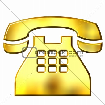 3D Golden Telephone