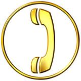 3D Golden Telephone Sign