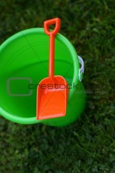 Green Pail With Orange Shovel