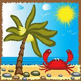 Summer background with crab