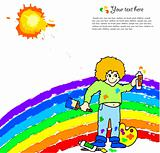 Bright background with boy drawing a rainbow