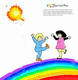 Bright background with happy child on rainbow