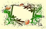 Grunge floral green frame signs. Vector