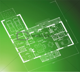 Architectural blueprint on green background