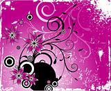 Flower grunge the pink ornament. Vector