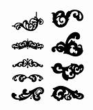Different ornamental elements. Vector set