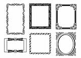 Collection of many vintage picture frames.Vector