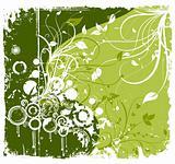 Flower grunge the green ornament. Vector