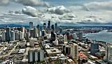 Seattle skyline and port on a cloudy day