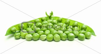 Green pea pod and seeds