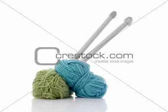 Blue and green  knitting wool