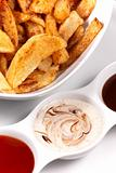 Homemade chips with dips