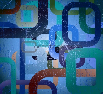 Abstract grunge square on blue background