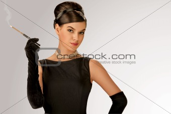 Stylish retro woman smoking