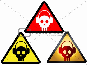 A set of deejay themed danger signs