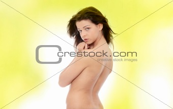 Portrait of the attractive topless girl