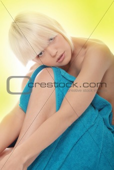 Portrait of young beautiful topless caucasian woman