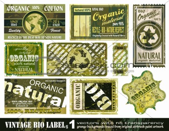 Vintage BIO labels collection - Set 1