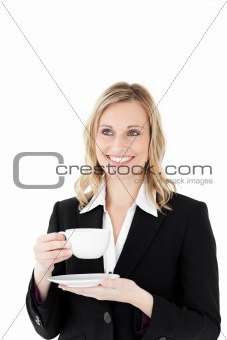 Charming businesswoman with cup of coffee