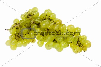 Green grapes on white