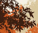 Colored landscape of automn brown foliage - Vector illustratio