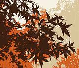 Colored landscape of automn brown foliage - Vector illustratio