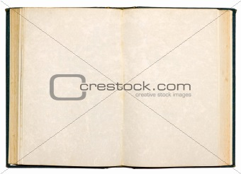 Old open book with blank pages isolated