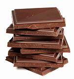Stack of dark chocolate isolated