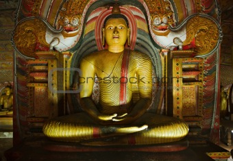Ancient Buddha image in Dambulla Rock Temple caves, Sri Lanka