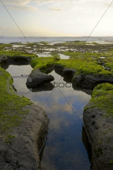 Foot shaped hollow in ocean coast