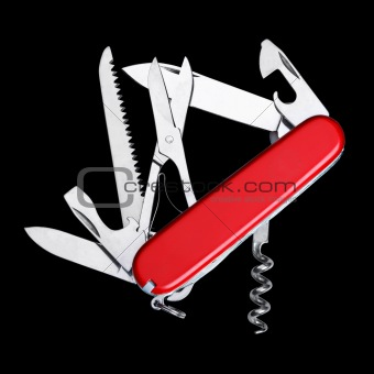 Swiss army knife isolated