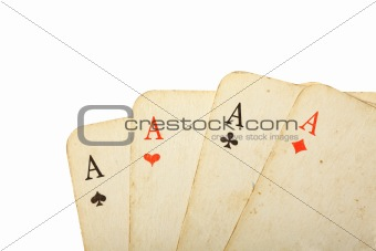 Four old cards close up