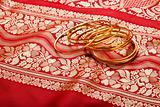 Indian sari with golden bangles