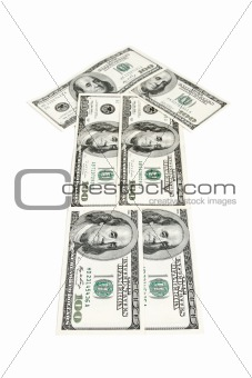 Arrow made of dollars isolated